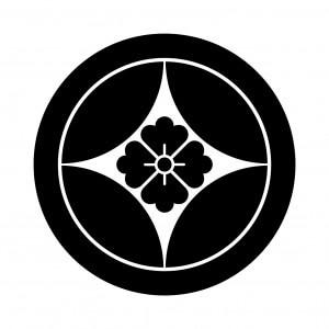 丸に七宝花角