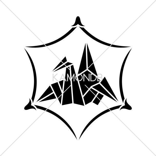 六角松葉に折鶴