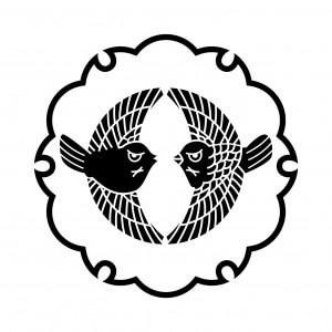 雪輪に対い雀