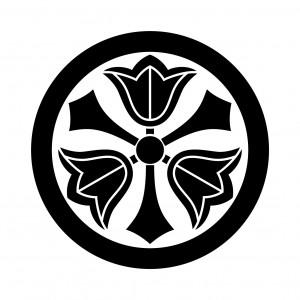 丸に三つ剣梔子