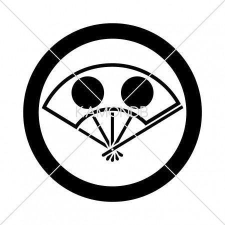 丸に日月の丸陰扇