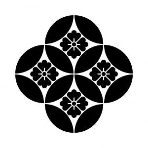 持合四つ七宝に花角
