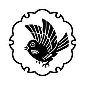雪輪にひな雀