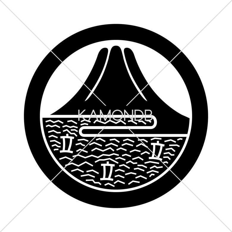 丸に富士山に帆掛け船