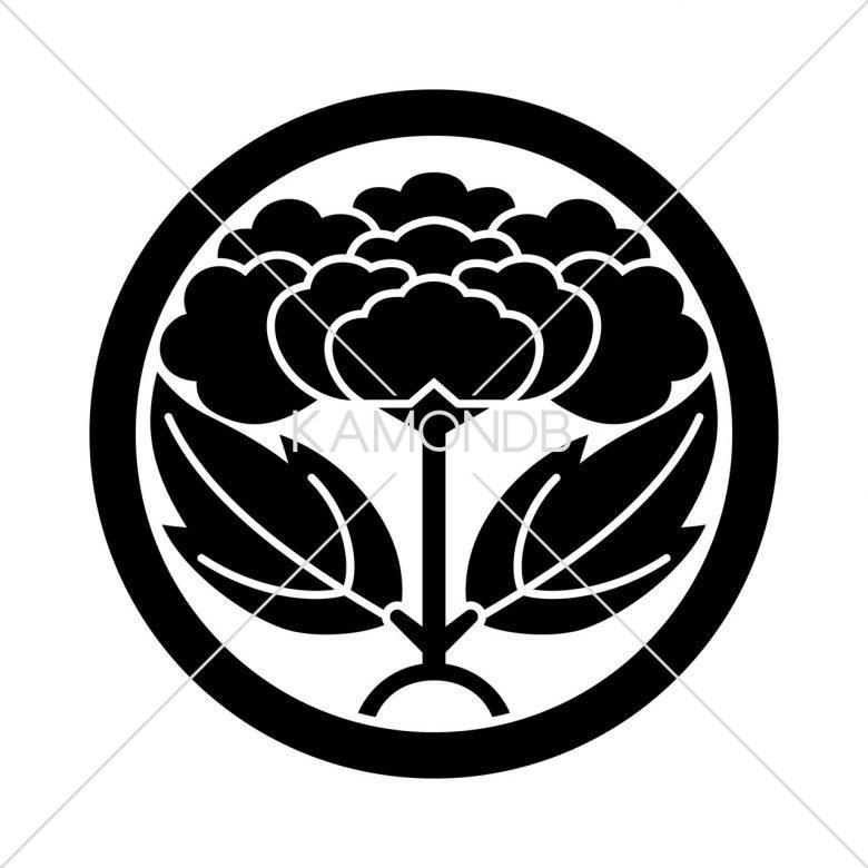 中輪に葉付き牡丹