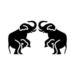 向かい立ち象