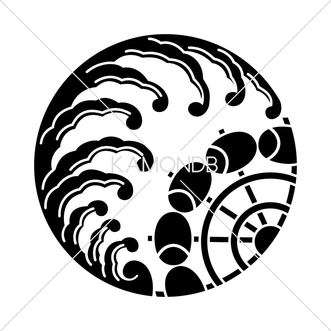 波の丸に水車