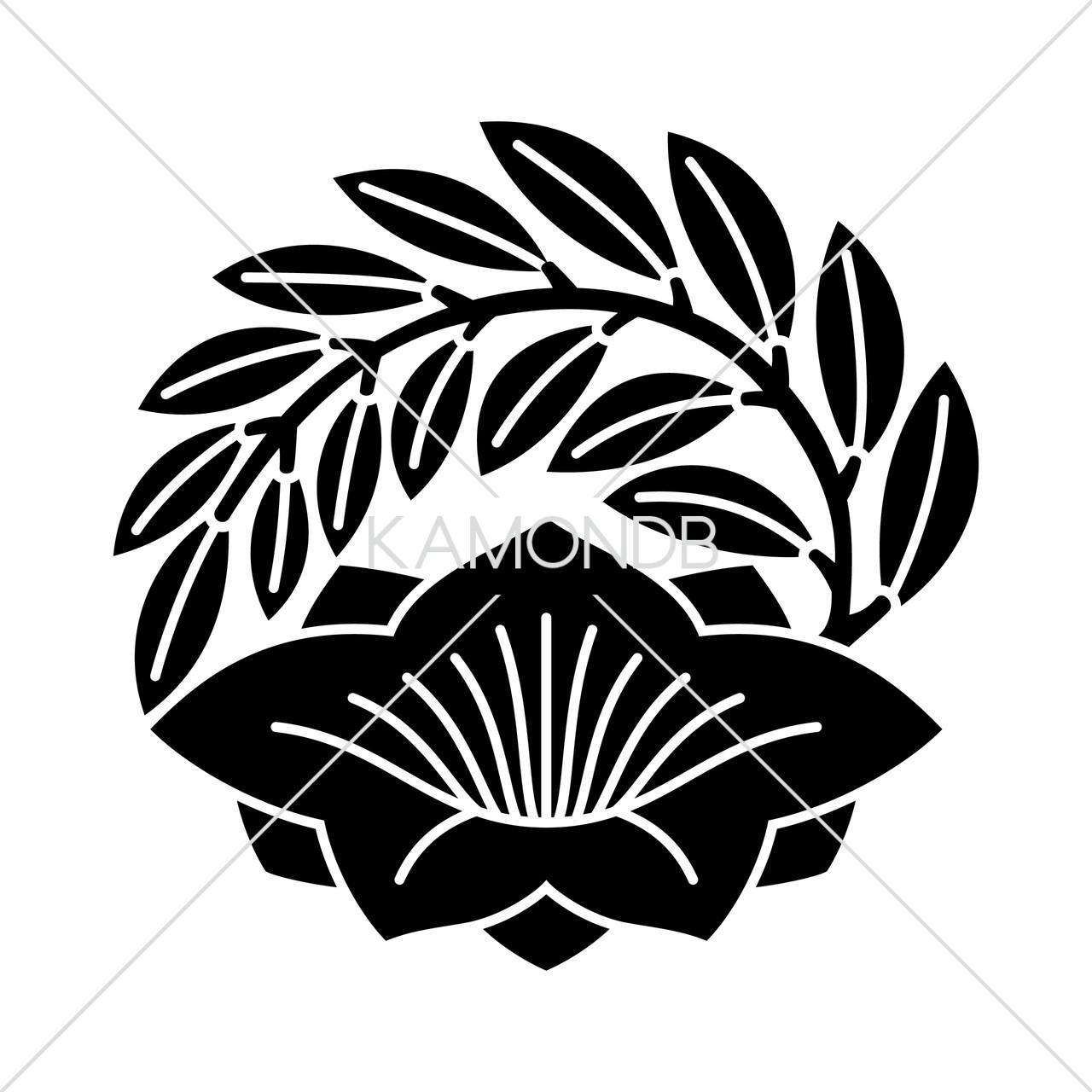葉付き桔梗の丸